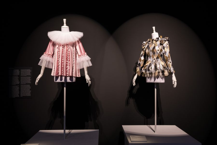 (left) Tears of a Clown Stage costume made satin and crystals (2016) 
