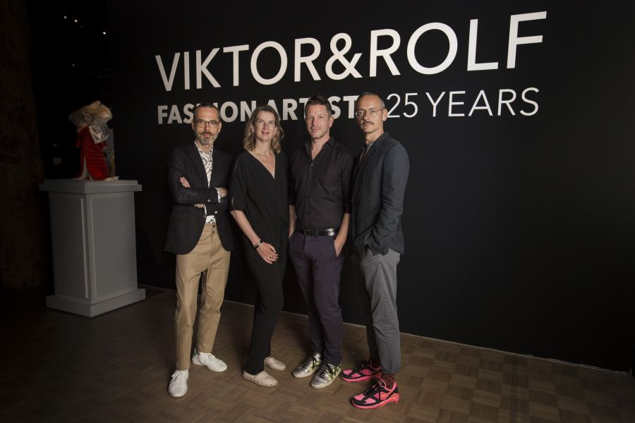 Viktor&Rolf with curator Thierry Maxime-Loriot and Emily Ansenk, Director Kunsthal