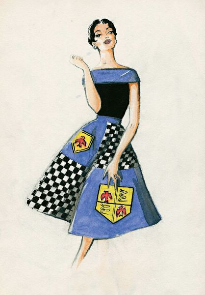 Cocktail dress with a wide full skirt decorated with heraldic motifs. Palio Collection, Spring/Summer 1957. Pencil and tempera on paper, 16 x 22 cm.