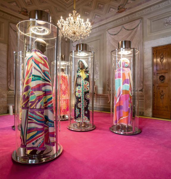 Emilio Pucci Heritage Hub in Palazzo Pucci. A display featuring terrycloth and cotton velvet capes in the capsule of the Sala delle Muse.