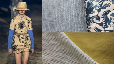 Runway-Look: Dior; Stoffe: Velcorex (oben), Pulse of Fashion