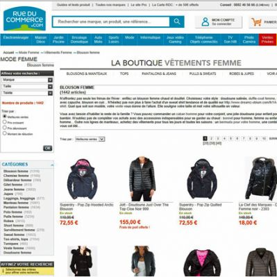 Website von Rue Du Commerce