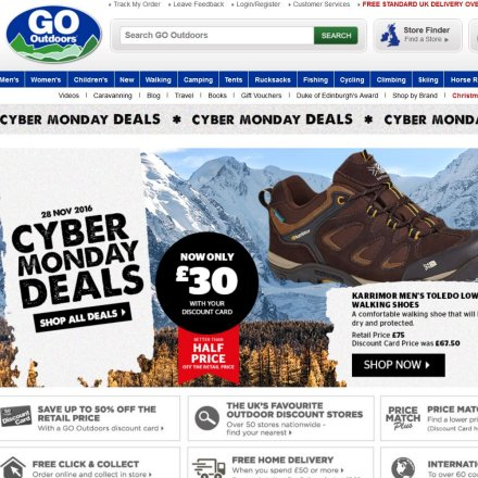 Online-Shop von Go Outdoors